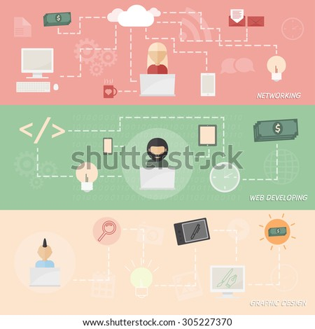 Perfect freelance infographic. Concept of co working. Networking, web developer, graphic designer. - stock vector