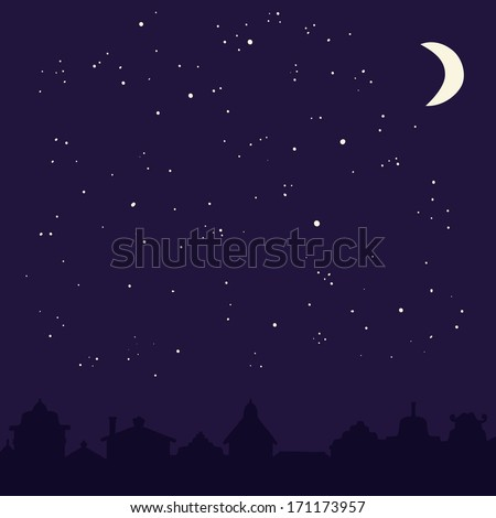 Perfect illustration of dark city with moon and stars. Cute city silhouette on dark sky background. Vector file organized for easy editing.