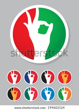 Perfect or ok icon in the colors of the flag of Italy, France, Austria, Belgium, Spain, Ireland, Argentina, Hungary, Egypt etc. - stock vector