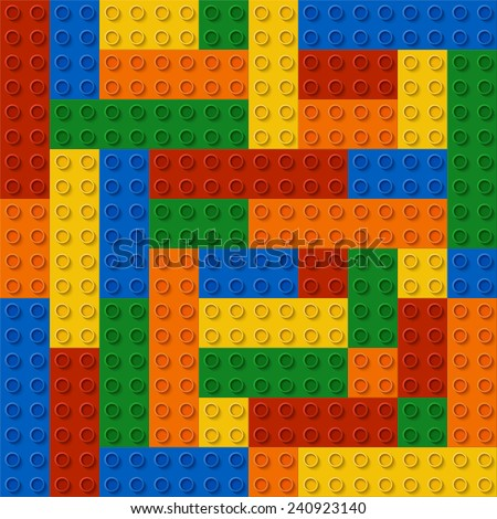Perfect seamless vector pattern of children plastic parts. The colors don't mix with each other. The amount of details is equal by shape and color. Every kit detail is grouped. 5 colors. Enjoy! - stock vector