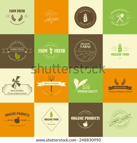 Perfect set of organic food logos. - stock vector