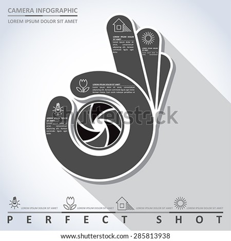 Perfect shot. Camera info graphic, vector - stock vector