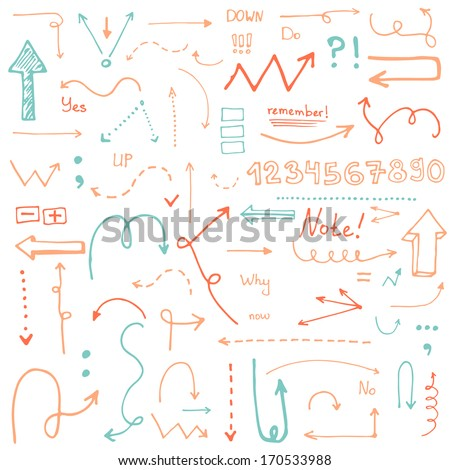 Perfect vintage hand drawn arrows made in vector. Beautiful fully editable business design element. - stock vector