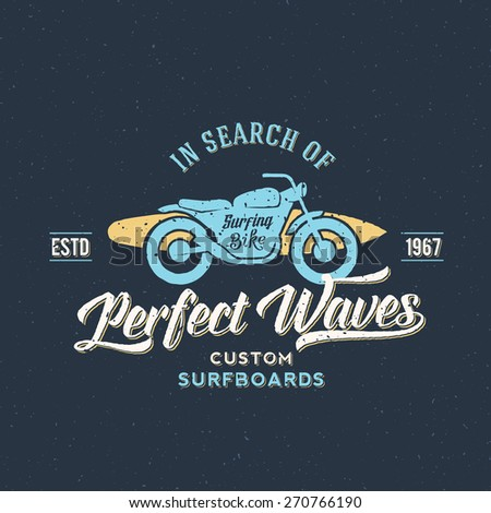 Perfect Waves Bike with Surfboard Abstract Retro Vector Label or Logo Template on a Textured Background. Good for Posters, T-shirt Prints etc. - stock vector