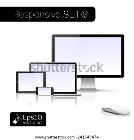 Perfectly detailed modern laptop and glossy tablet and smartphone and isolation of computer with mouse. EPS 10 illustration