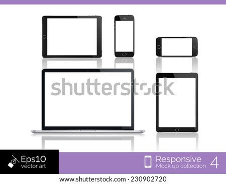 Perfectly detailed modern laptop and glossy tablet and smartphone isolation with computer mouse. EPS 10 illustration - stock vector