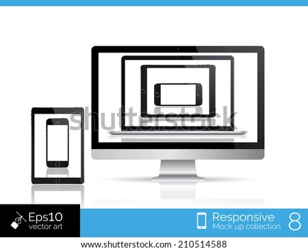 Perfectly detailed modern laptop, glossy tablet, smartphone and isolation of computer with mouse. EPS 10 illustration - stock vector