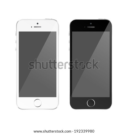 Perfectly detailed modern smart phone isolation. Vector EPS 10 - stock vector