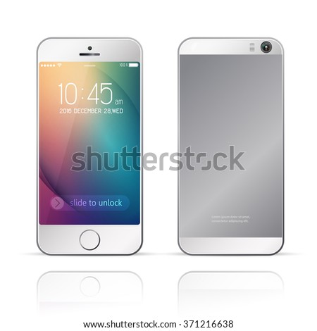 Perfectly detailed smartphone with camera,mobile phone isolated with abstract colorful background design template,To adapt idea for brochure advertising,technology presentation,vector, illustration - stock vector