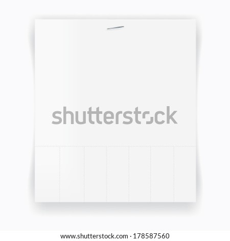 Perforate blank paper with stample. Just like a lost dog poster. Eps 10 vector template.