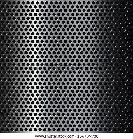 Perforated brushed metal grid background. - stock vector