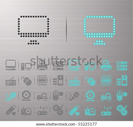 Perforated Computer buttons - stock vector