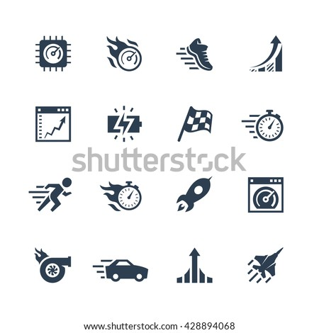 Performance and velocity vector icon set - stock vector