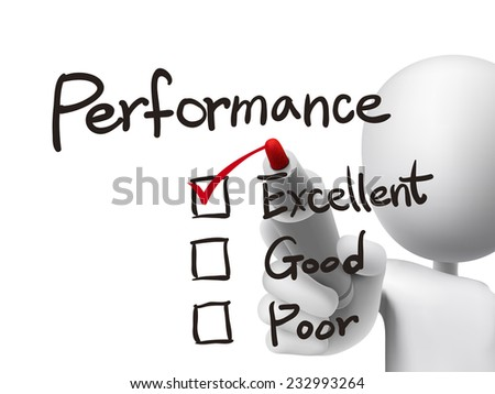 performance list checking by 3d man over transparent board - stock vector