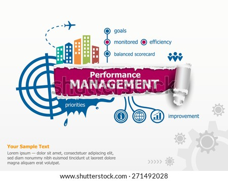Performance management and breakthrough paper hole with ragged edges. - stock vector