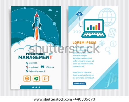 Performance management and concept background with rocket. Project Performance management concepts and Set of Banners. Vector Illustration. Eps10 Format.