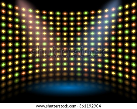 Performance stage with lightbulb glowing backdrop wall. Vector abstract background - stock vector
