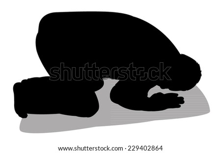 performing five time prayer, silhouette of a Muslim Praying  - stock vector