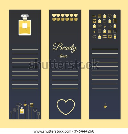 Perfume and beauty gift cards with notes. Stock vector illustration.Fragrance with golden decorative elements. Vector illustration for holiday cards and shopping catalog.  - stock vector