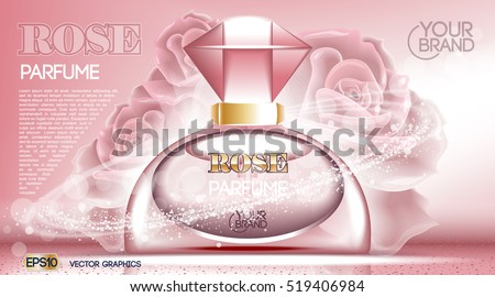 Perfume bottle Cosmetic ads template, droplet bottle mock up isolated on dazzling roses background. Place for brand text. Glamorous fragrance sparkling effects. Vector illustration