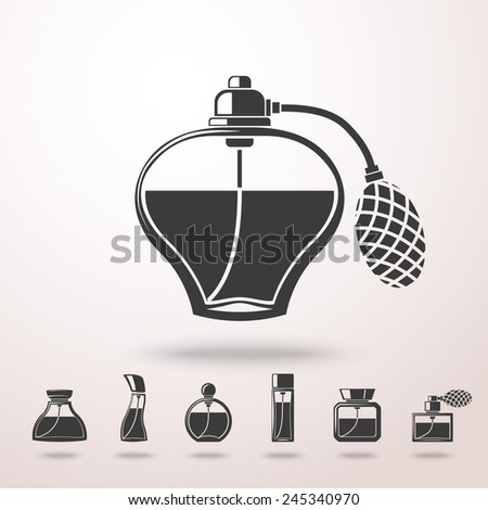 Perfume icons set, different shapes of bottles. vector - stock vector