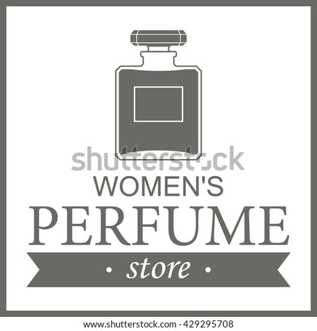 perfume template logo women . Isolated store perfume label on a white background . For perfume shop advertising , window signs, banners . Perfume shop logo, icon. Vector illustration - stock vector