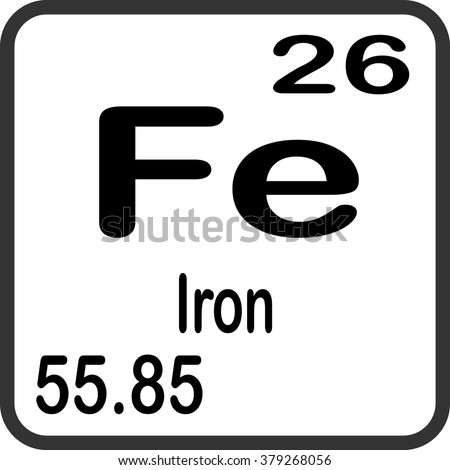 Iron Element Symbol Black And White Periodic Table Element...
