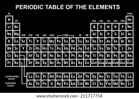 Periodic table of the elements with black in background - stock vector