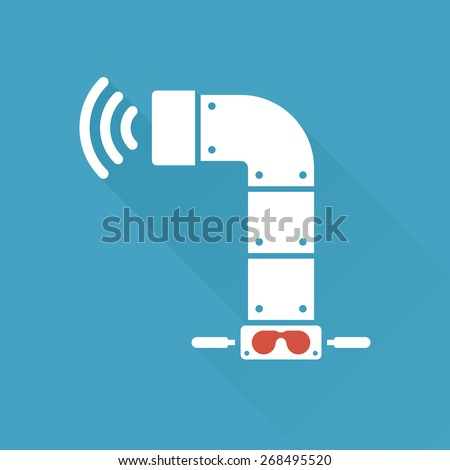 Periscope submarine scope graphic with signal icon - stock vector