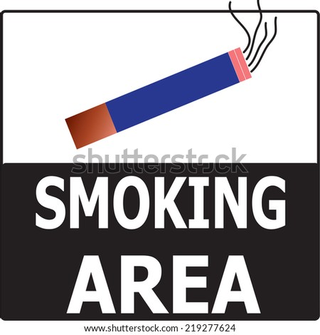 Permitting Smoking Cigarette Area Sign Vector on white & black background. - stock vector