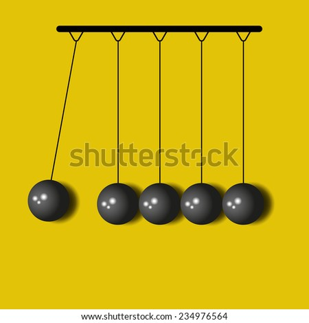 Perpetuum Mobile, 3D balls Newton, yellow business background - stock vector