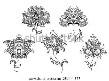 Persian and indian paisley flowers and decorative elements set for design