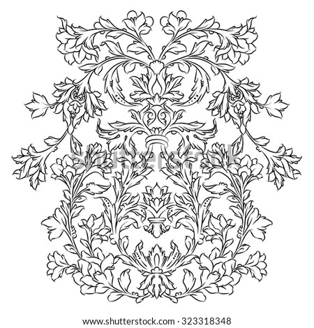 Persian floral ornament, black on white - stock vector