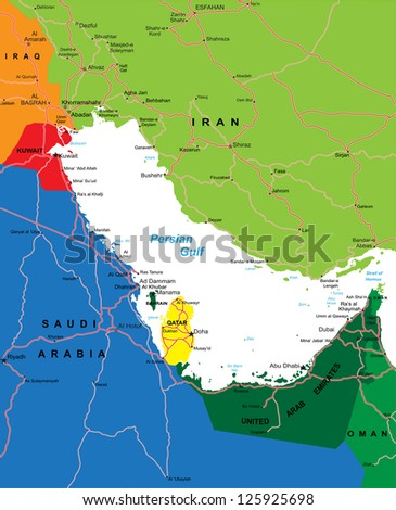 Persian Gulf Area map - stock vector