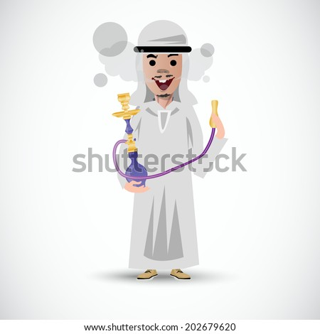Persian man with hookah. smoking - vector illustration - stock vector