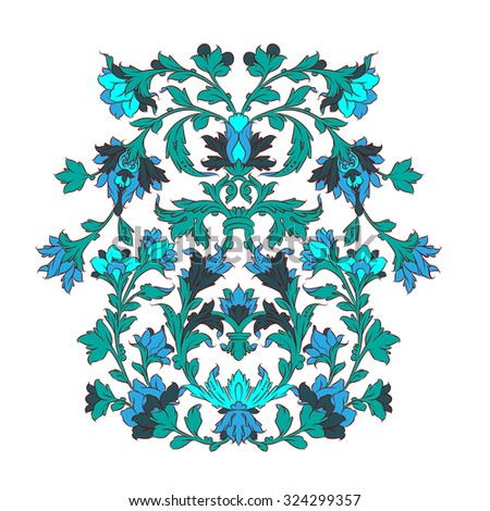 Persian ornament turquoise on white