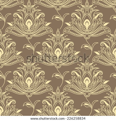 Persian paisley floral seamless background pattern with large intricate yellow motifs on a brown background in square format suitable for wallpaper or textile - stock vector