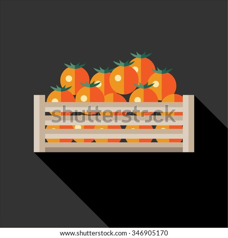 Persimmon fruits in wooden crate. Flat style vector illustration. - stock vector