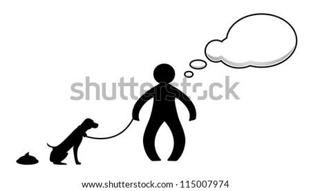 Person and dog - stock vector