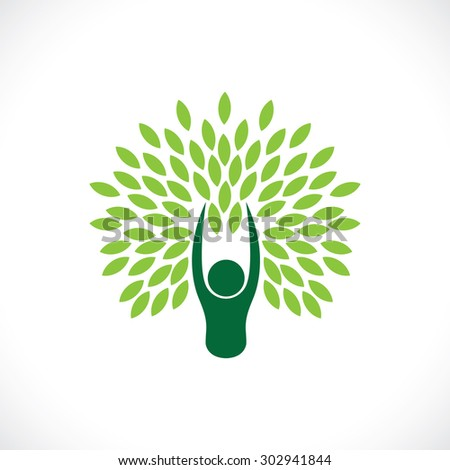 person as tree one with nature - eco lifestyle concept vector. This line icon also represents harmony, union, sustainable development, natural balance, development, symbiotic relationship - stock vector