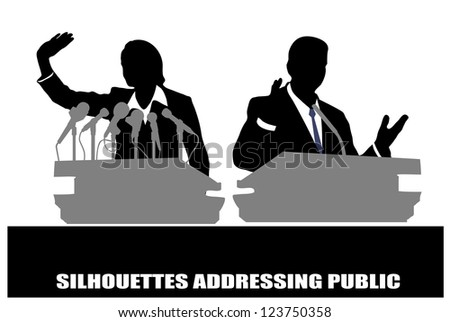 person before a microphone - stock vector
