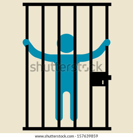 Person Behind Bars Jail Prison Stock Vector 157639859