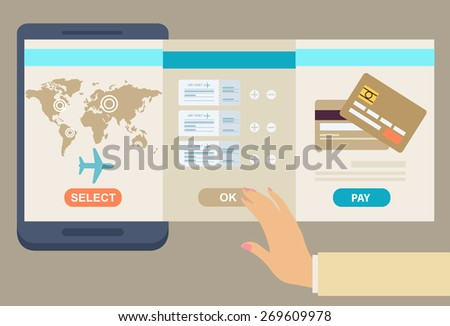 Person booking his airline flights online with three panel interfaces showing the route, suggested flight and payment by credit card, vector illustration conceptual of travel - stock vector