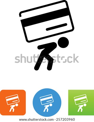Person carrying credit card debt symbol for download. Vector icons for video, mobile apps, Web sites and print projects.  - stock vector
