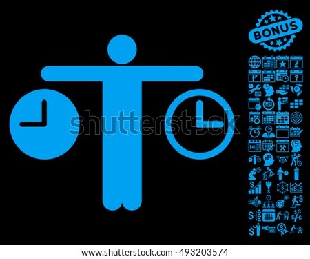 Person Compare Clocks icon with bonus calendar and time management symbols. Vector illustration style is flat iconic symbols, blue color, black background.