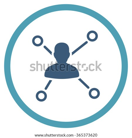 Person Connections vector icon. Style is bicolor flat circled symbol, cyan and blue colors, rounded angles, white background. - stock vector