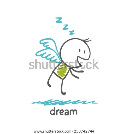 person dreams and flies on the wings, illustrator - stock vector