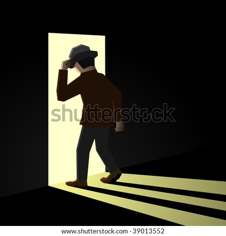 Person entering another room, from darkness to light - stock vector