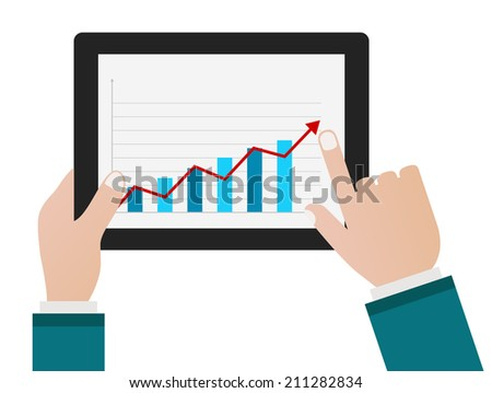 person hand with tablet pc and chart business diagram concept - stock vector