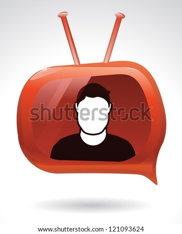 Person has a voice through his personal web cast channel. - stock vector